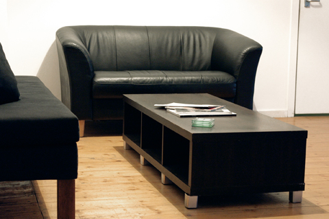 studio meeting area - couches and coffee table